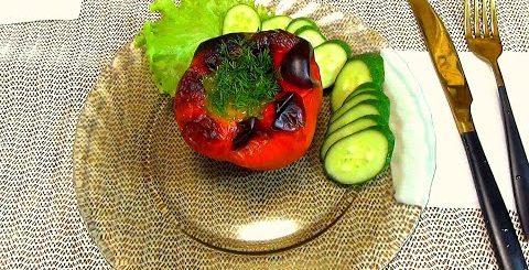 Легкий диетический завтрак, или ужин  Домашний рецепт вкусного и простого блюда. Перец в духовке.