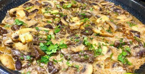 БЕФСТРОГАНОВ  рецепт вкуснейшего нежного мяса, тает во рту. Говядина по- Строгановски.